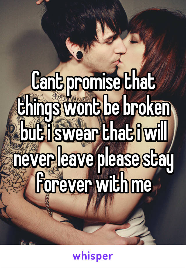 Cant promise that things wont be broken but i swear that i will never leave please stay forever with me