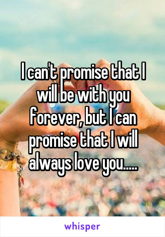 I can't promise that I will be with you forever, but I can promise that I will always love you.....