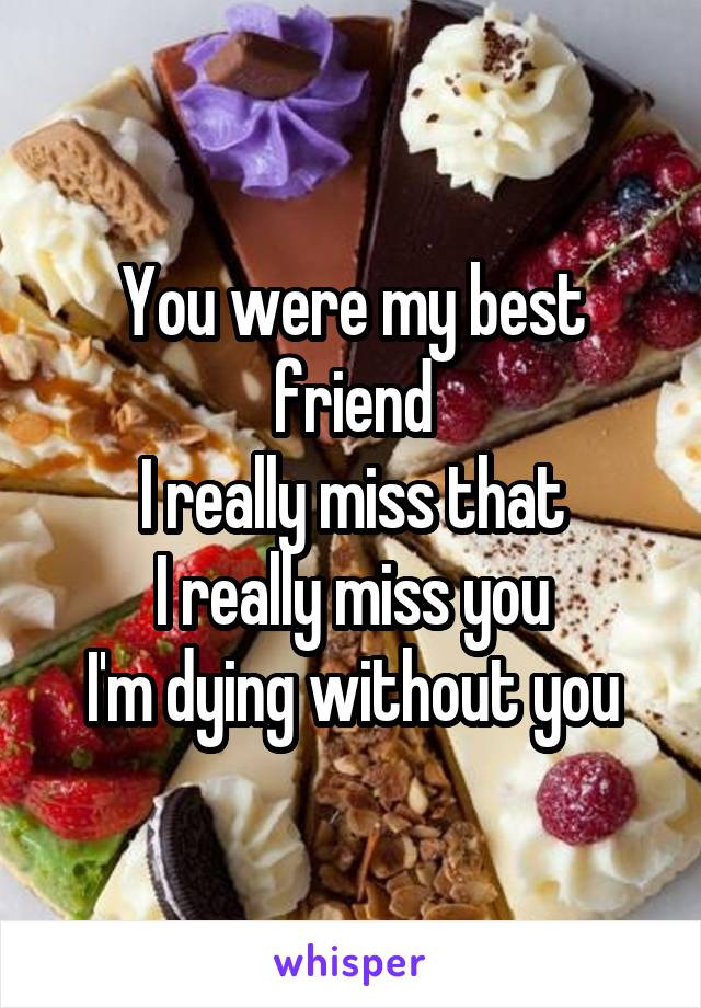 You were my best friend I really miss that I really miss you I'm dying without you