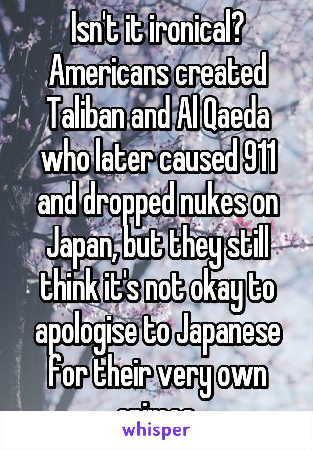 Isn't it ironical? Americans created Taliban and Al Qaeda who later caused 911 and dropped nukes on Japan, but they still think it's not okay to apologise to Japanese for their very own crimes.