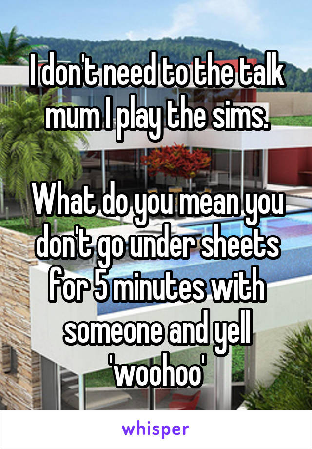 I don't need to the talk mum I play the sims.  What do you mean you don't go under sheets for 5 minutes with someone and yell 'woohoo'