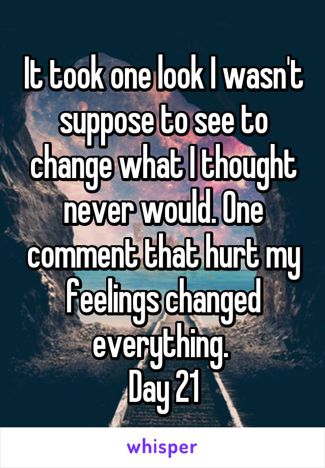 It took one look I wasn't suppose to see to change what I thought never would. One comment that hurt my feelings changed everything.  Day 21