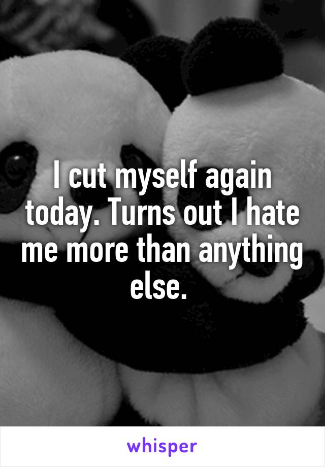 I cut myself again today. Turns out I hate me more than anything else.