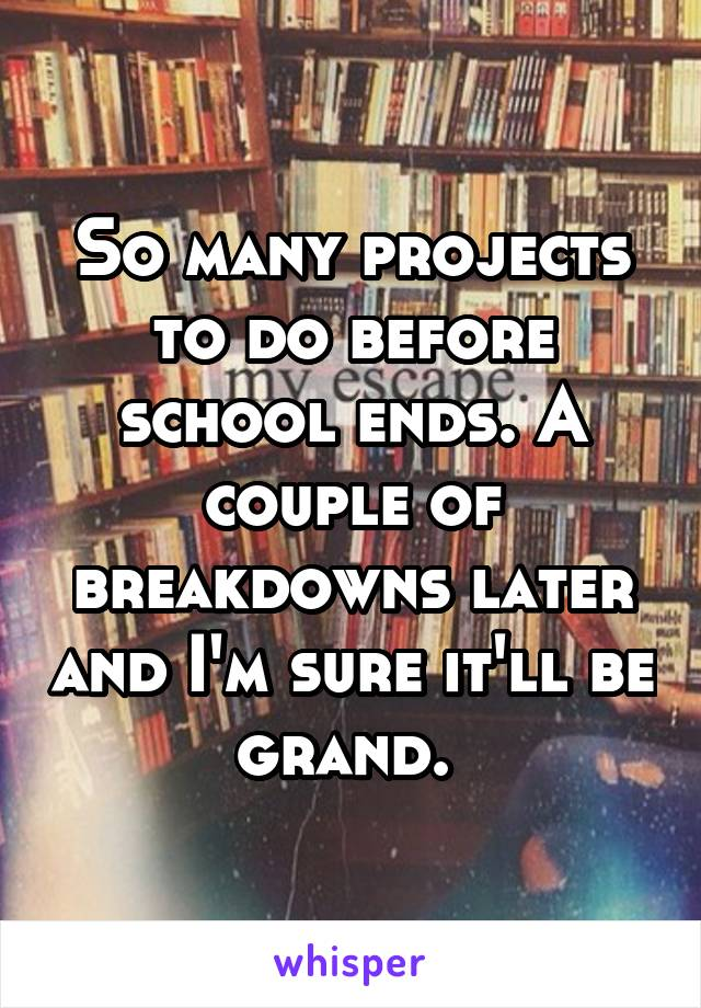 So many projects to do before school ends. A couple of breakdowns later and I'm sure it'll be grand.