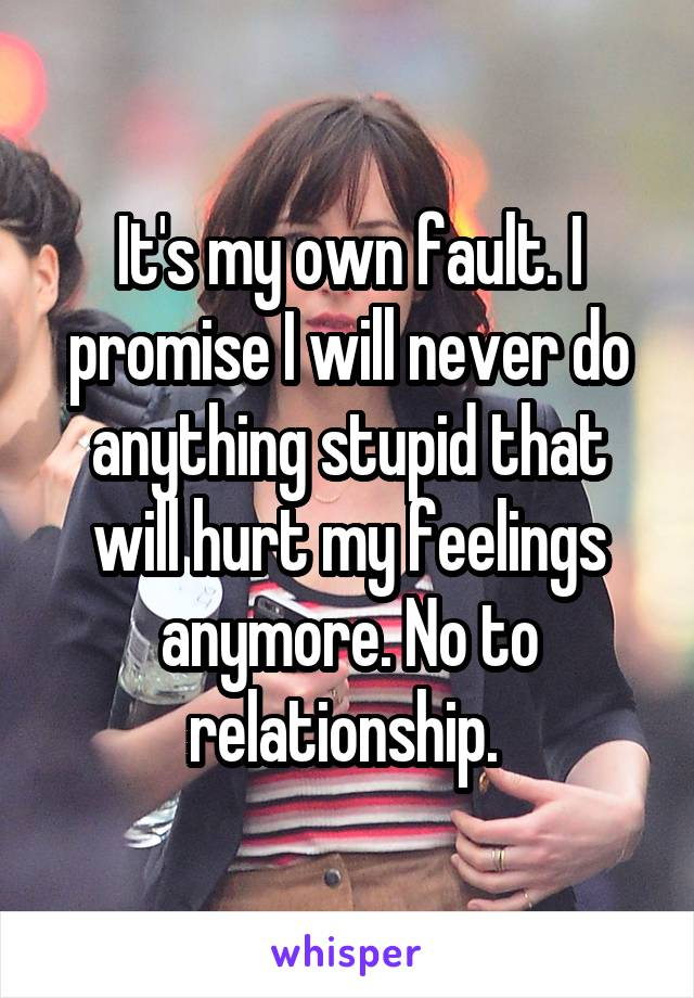 It's my own fault. I promise I will never do anything stupid that will hurt my feelings anymore. No to relationship.