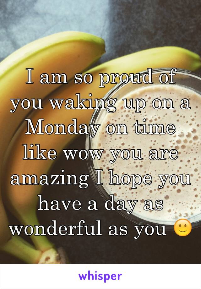 I am so proud of you waking up on a Monday on time like wow you are amazing I hope you have a day as wonderful as you 🙂