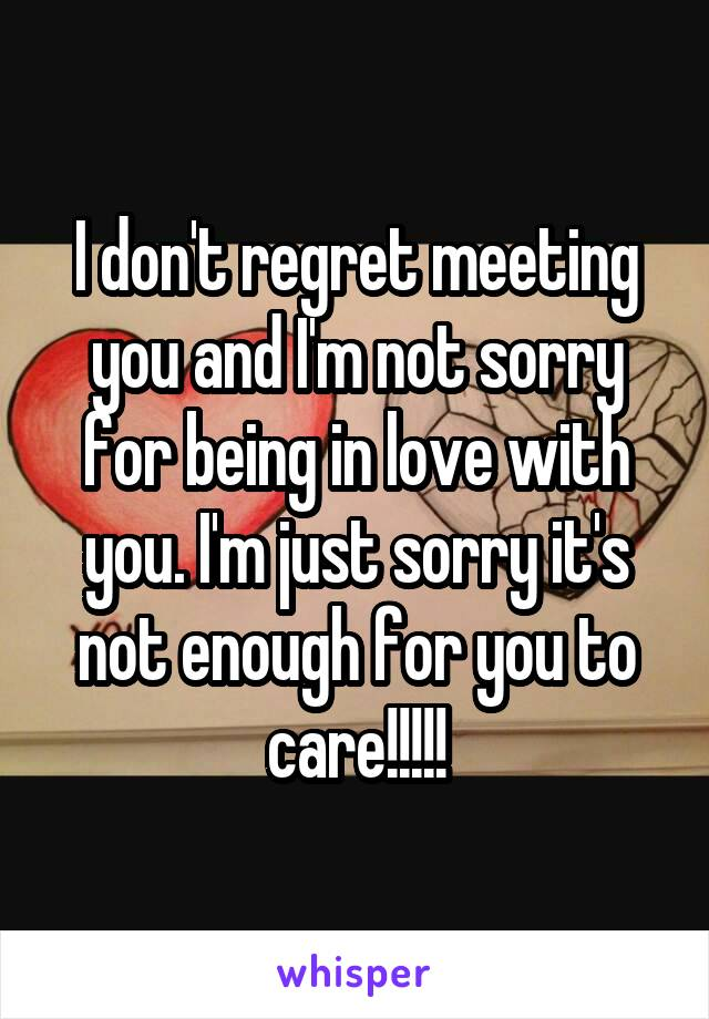 I don't regret meeting you and I'm not sorry for being in love with you. I'm just sorry it's not enough for you to care!!!!!