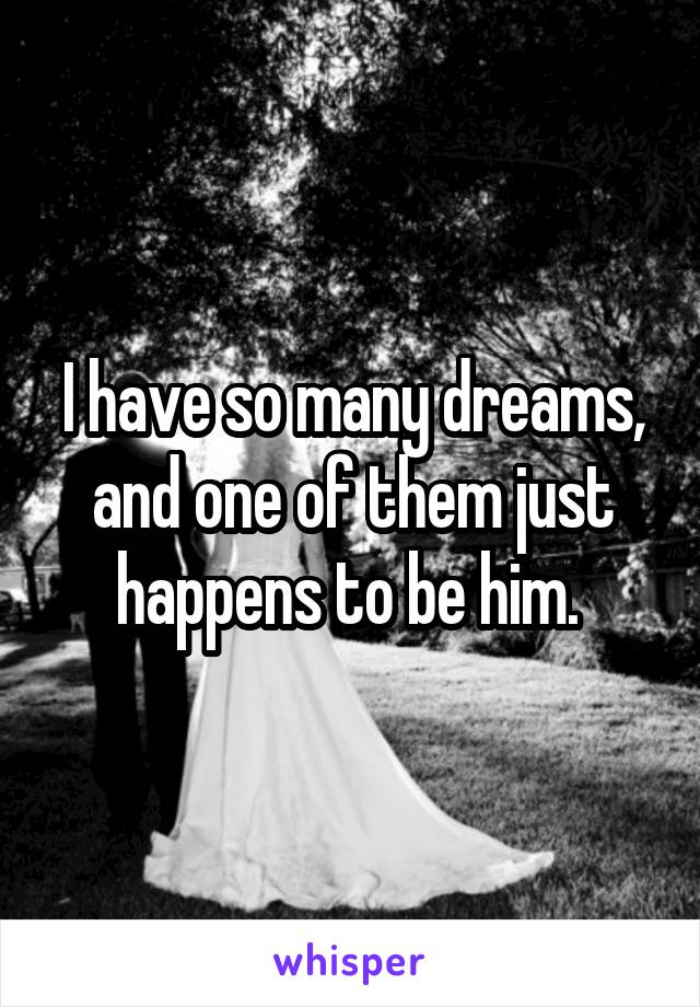 I have so many dreams, and one of them just happens to be him.