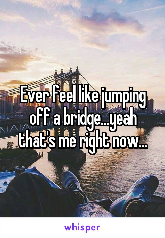 Ever feel like jumping off a bridge...yeah that's me right now...