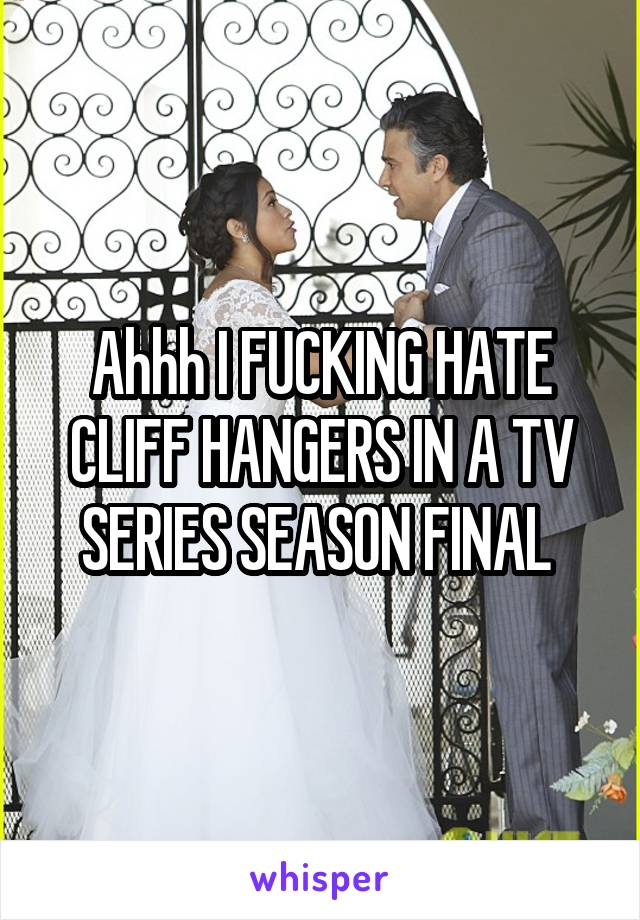Ahhh I FUCKING HATE CLIFF HANGERS IN A TV SERIES SEASON FINAL