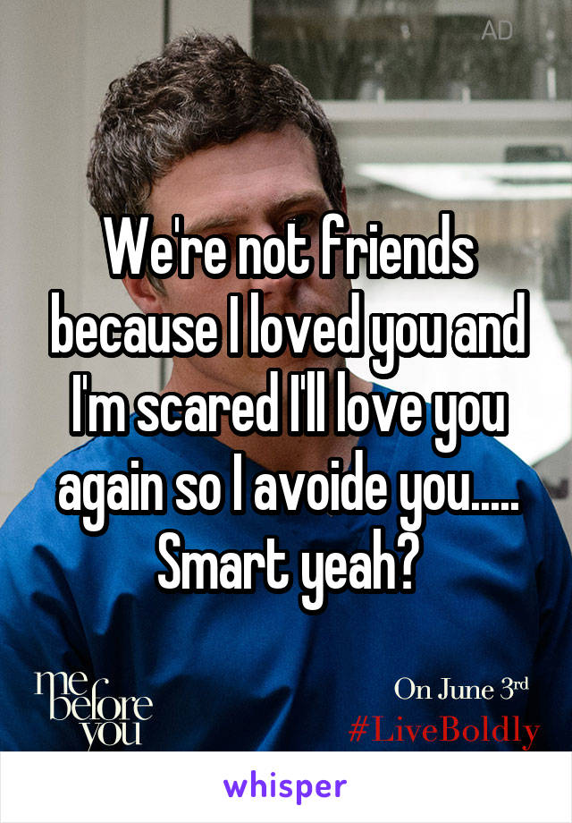 We're not friends because I loved you and I'm scared I'll love you again so I avoide you..... Smart yeah?