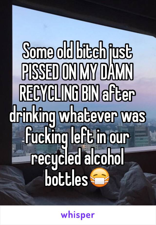 Some old bitch just PISSED ON MY DAMN RECYCLING BIN after drinking whatever was fucking left in our recycled alcohol bottles😷