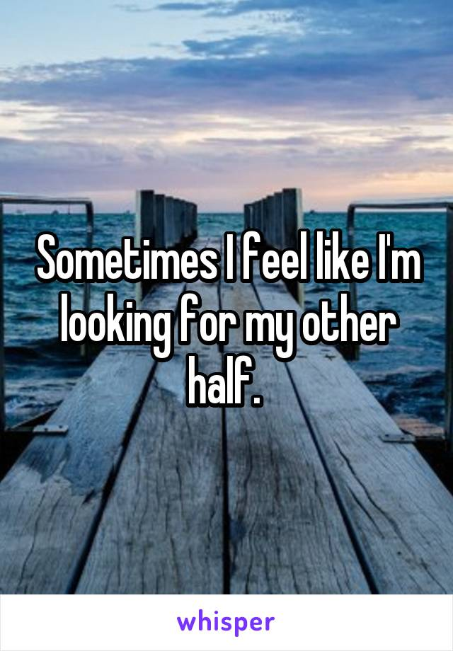 Sometimes I feel like I'm looking for my other half.