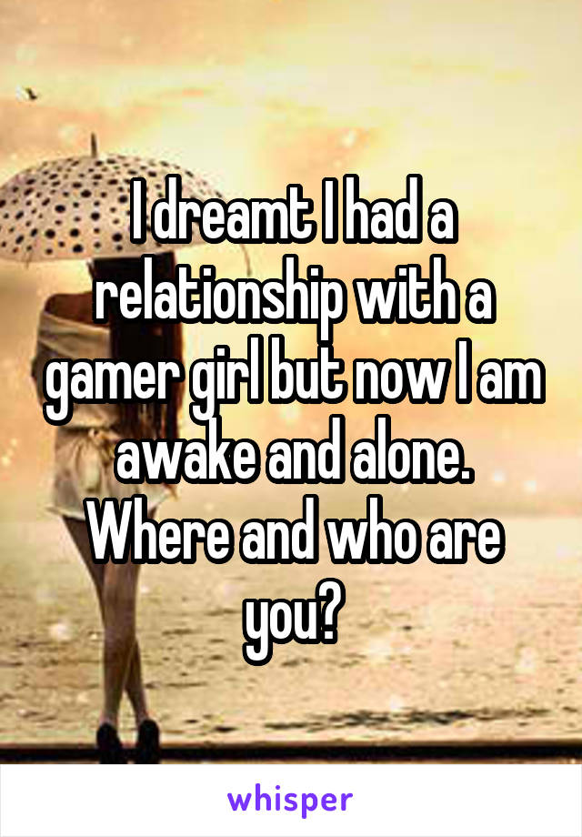 I dreamt I had a relationship with a gamer girl but now I am awake and alone. Where and who are you?