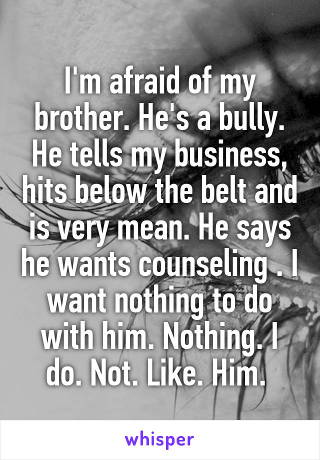 I'm afraid of my brother. He's a bully. He tells my business, hits below the belt and is very mean. He says he wants counseling . I want nothing to do with him. Nothing. I do. Not. Like. Him.