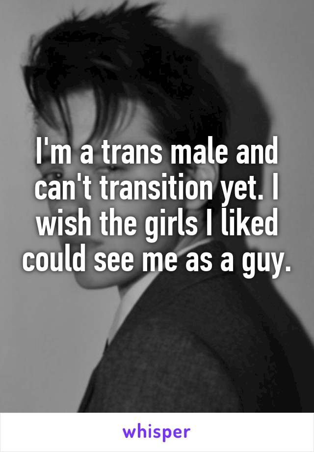 I'm a trans male and can't transition yet. I wish the girls I liked could see me as a guy.