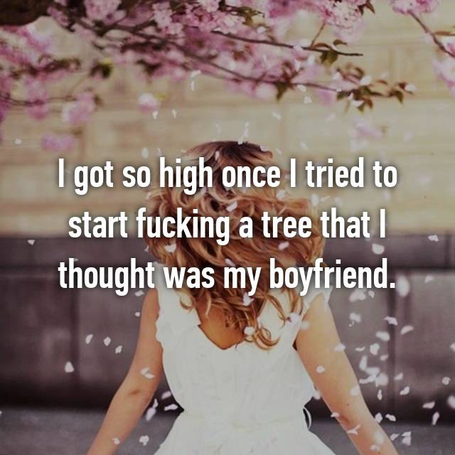 I got so high once I tried to start fucking a tree that I thought was my boyfriend.