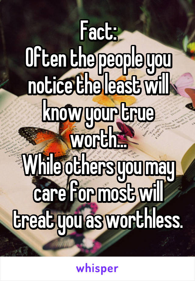 Fact: Often the people you notice the least will know your true worth... While others you may care for most will treat you as worthless.