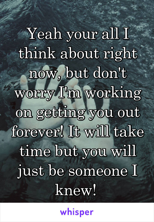 Yeah your all I think about right now, but don't worry I'm working on getting you out forever! It will take time but you will just be someone I knew!