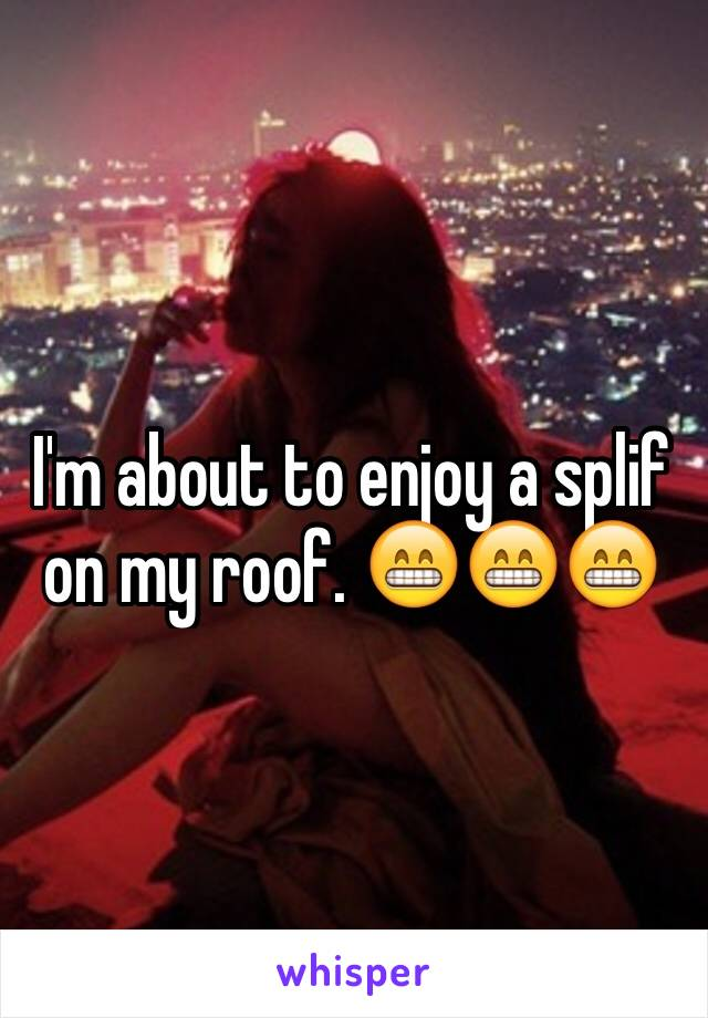 I'm about to enjoy a splif on my roof. 😁😁😁