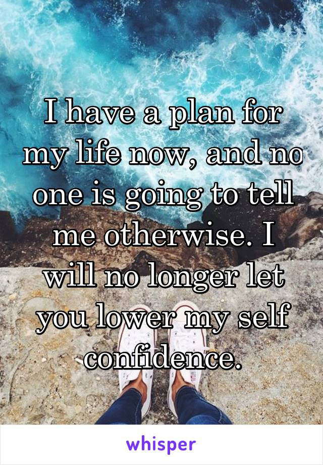 I have a plan for my life now, and no one is going to tell me otherwise. I will no longer let you lower my self confidence.