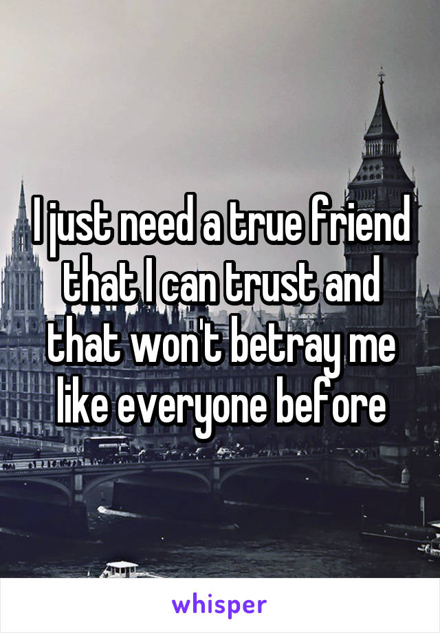 I just need a true friend that I can trust and that won't betray me like everyone before