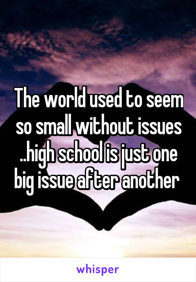 The world used to seem so small without issues ..high school is just one big issue after another