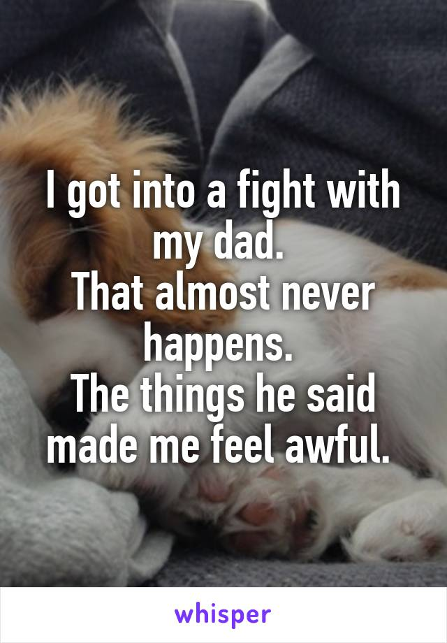 I got into a fight with my dad.  That almost never happens.  The things he said made me feel awful.