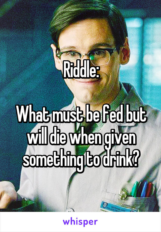 Riddle:  What must be fed but will die when given something to drink?