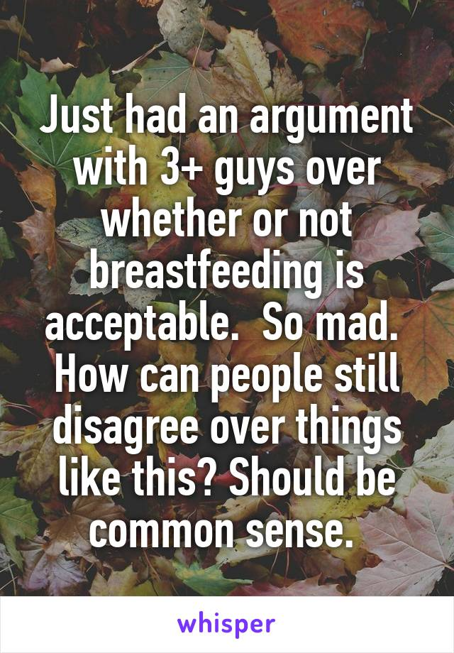 Just had an argument with 3+ guys over whether or not breastfeeding is acceptable.  So mad.  How can people still disagree over things like this? Should be common sense.