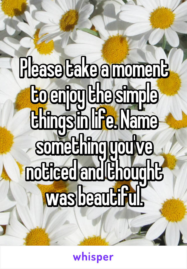 Please take a moment to enjoy the simple things in life. Name something you've noticed and thought was beautiful.