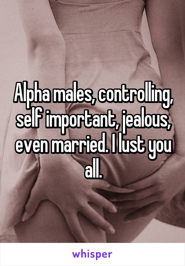 Alpha males, controlling, self important, jealous, even married. I lust you all.