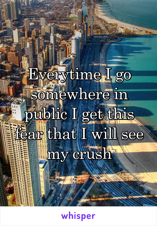 Everytime I go somewhere in public I get this fear that I will see my crush
