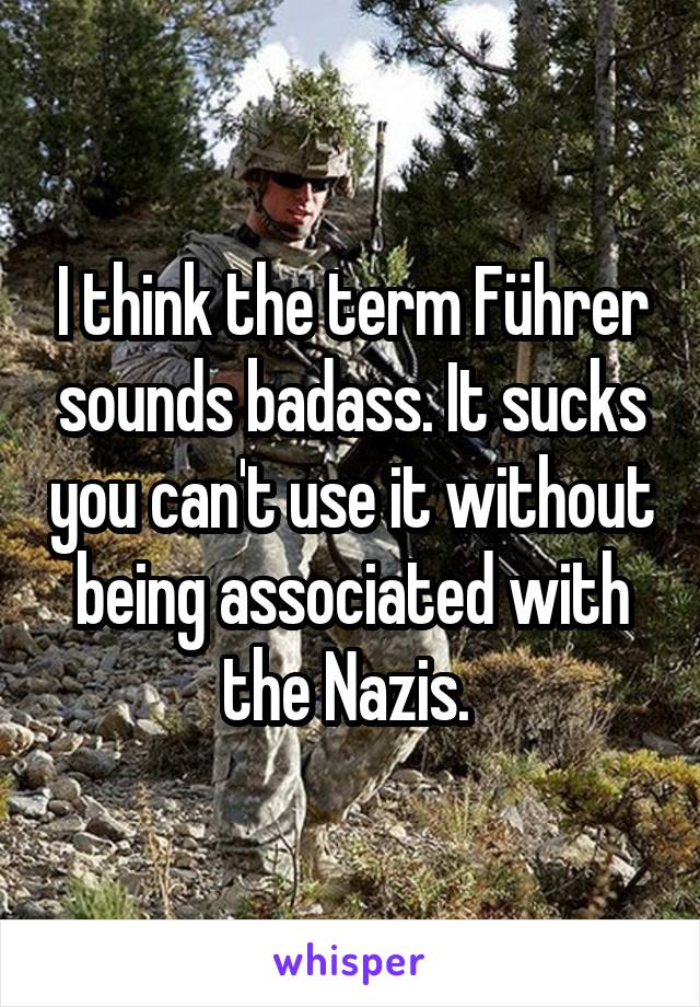 I think the term Führer sounds badass. It sucks you can't use it without being associated with the Nazis.