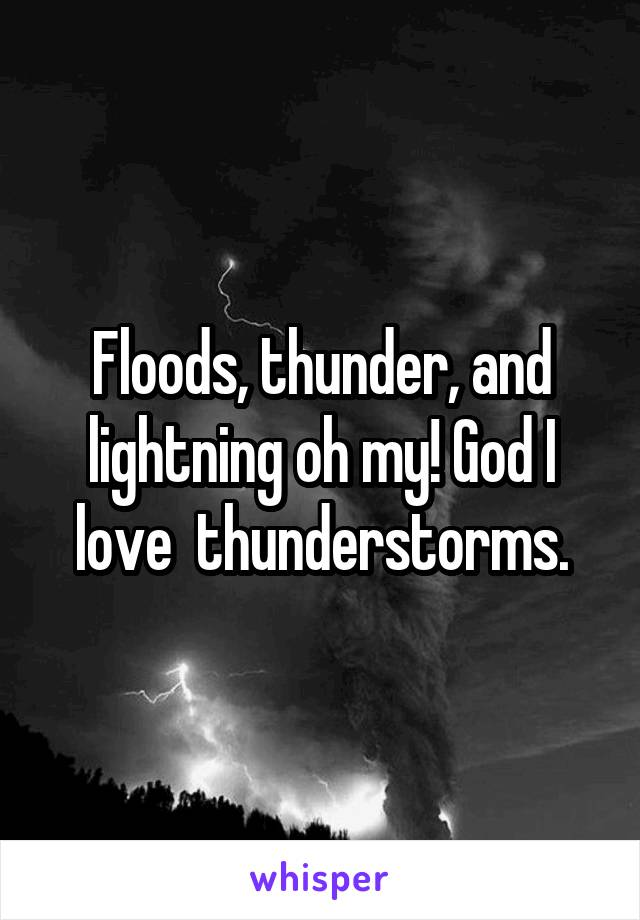 Floods, thunder, and lightning oh my! God I love  thunderstorms.