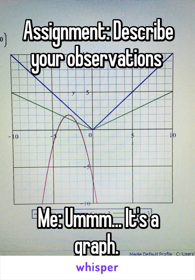 Assignment: Describe your observations       Me: Ummm... It's a graph.