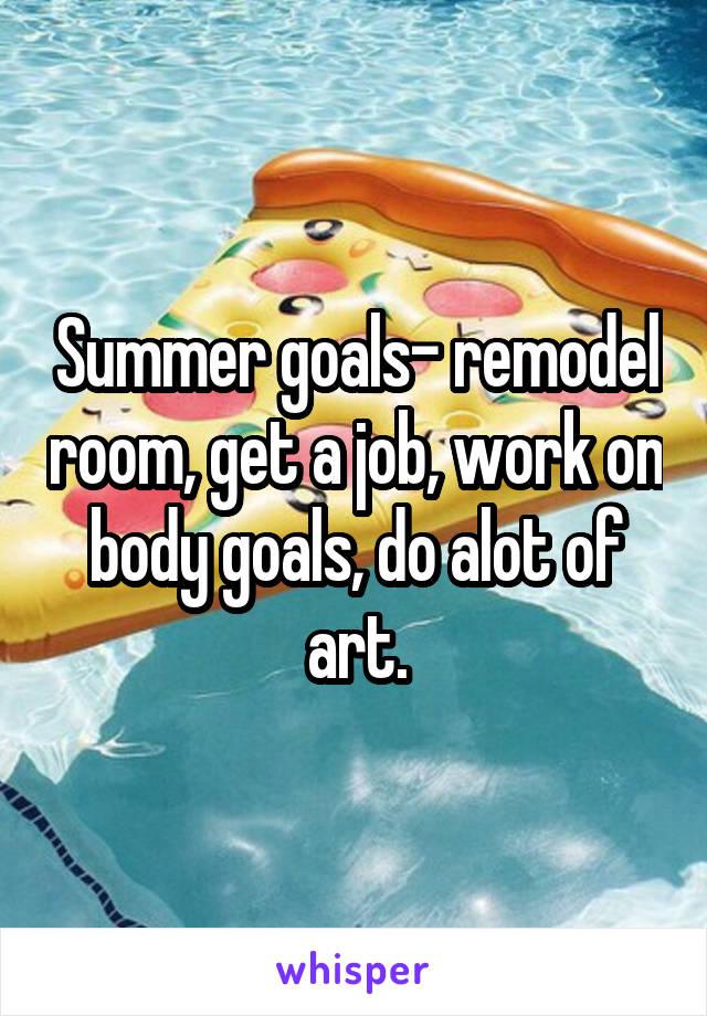 Summer goals- remodel room, get a job, work on body goals, do alot of art.