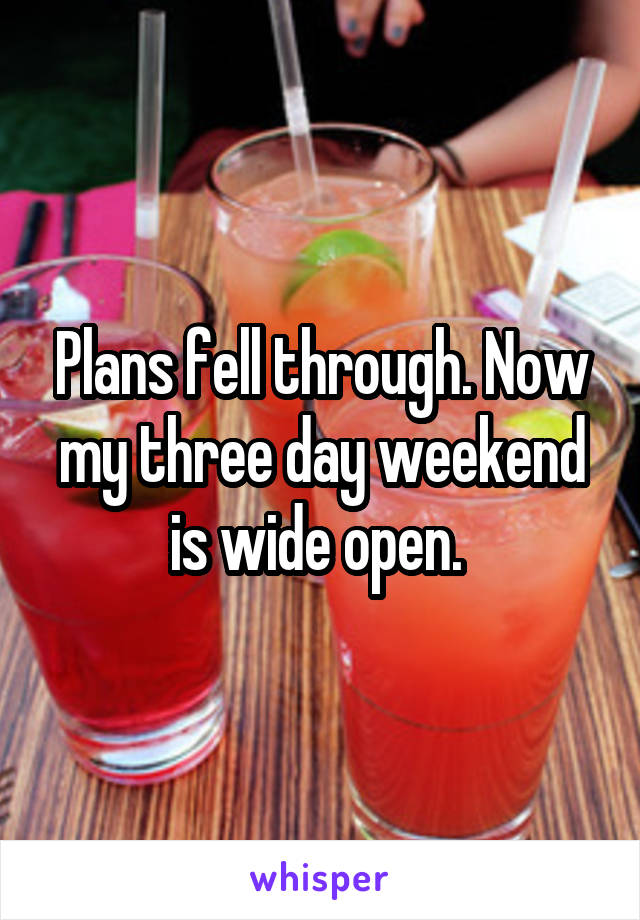 Plans fell through. Now my three day weekend is wide open.
