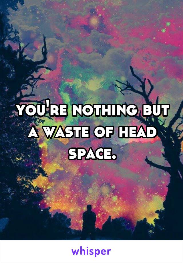 you're nothing but a waste of head space.