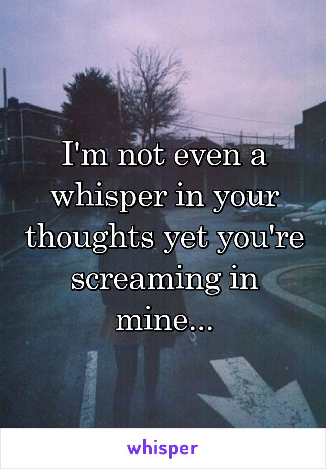 I'm not even a whisper in your thoughts yet you're screaming in mine...