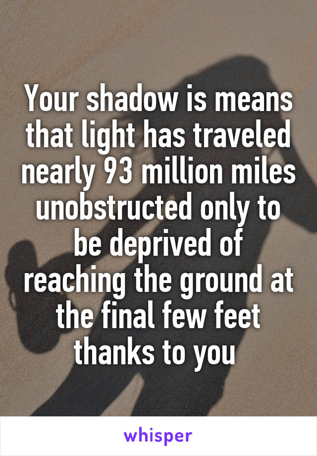 Your shadow is means that light has traveled nearly 93 million miles unobstructed only to be deprived of reaching the ground at the final few feet thanks to you