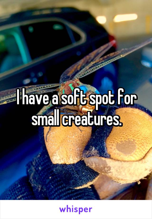 I have a soft spot for small creatures.