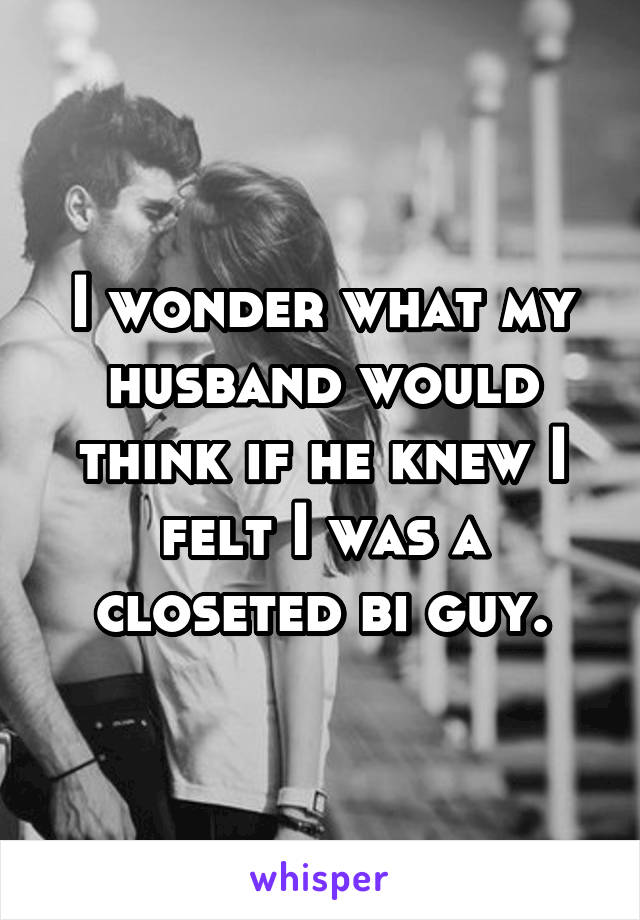I wonder what my husband would think if he knew I felt I was a closeted bi guy.