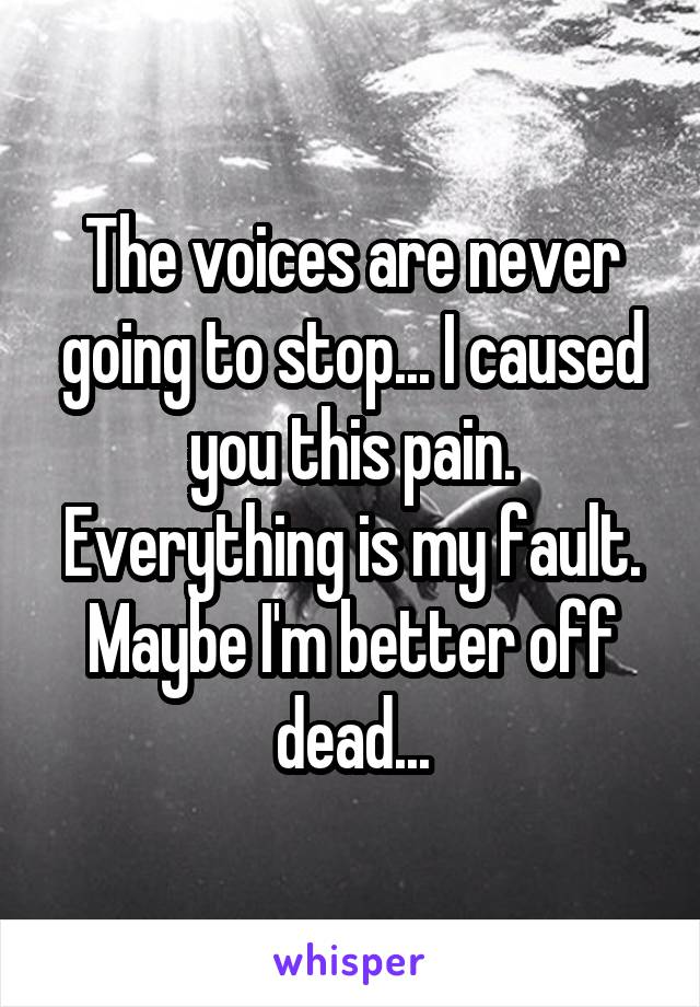 The voices are never going to stop... I caused you this pain. Everything is my fault. Maybe I'm better off dead...