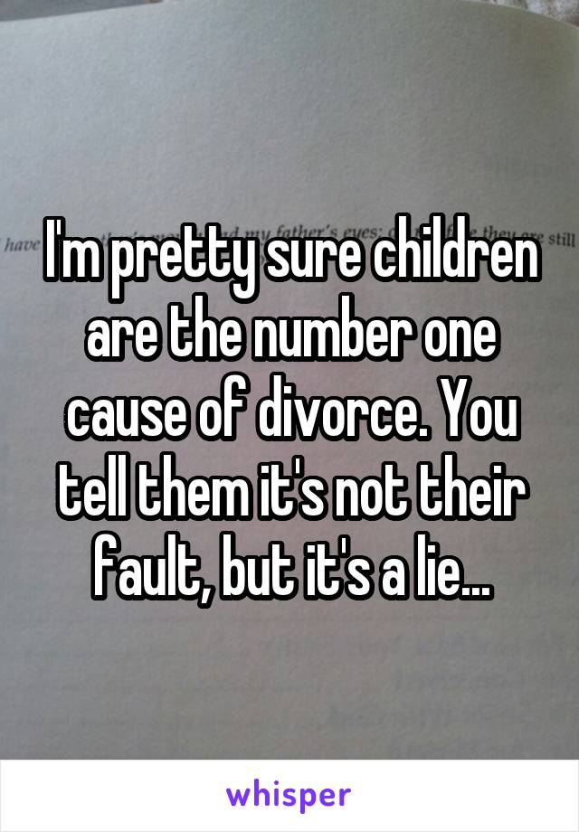I'm pretty sure children are the number one cause of divorce. You tell them it's not their fault, but it's a lie...