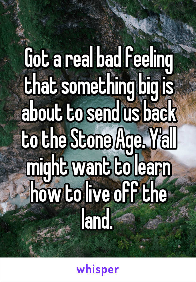 Got a real bad feeling that something big is about to send us back to the Stone Age. Y'all might want to learn how to live off the land.