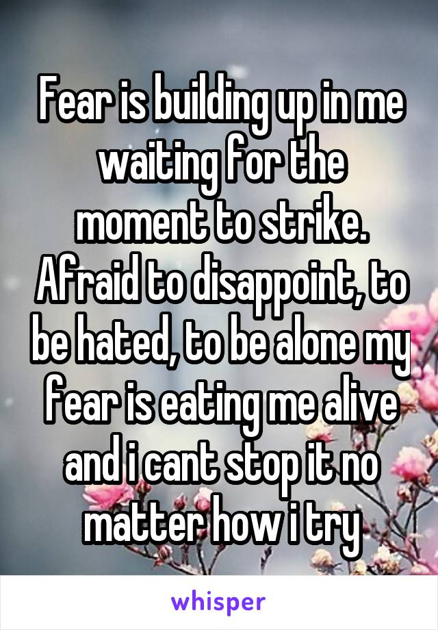 Fear is building up in me waiting for the moment to strike. Afraid to disappoint, to be hated, to be alone my fear is eating me alive and i cant stop it no matter how i try