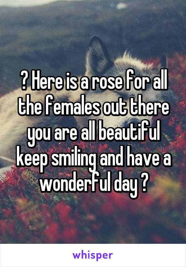 🌹 Here is a rose for all the females out there you are all beautiful keep smiling and have a wonderful day 🌹
