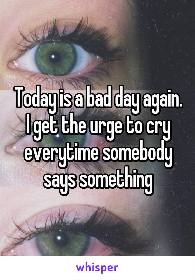 Today is a bad day again. I get the urge to cry everytime somebody says something