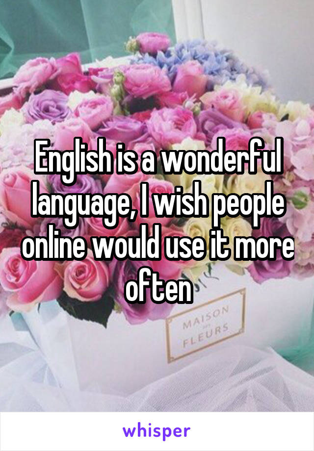 English is a wonderful language, I wish people online would use it more often